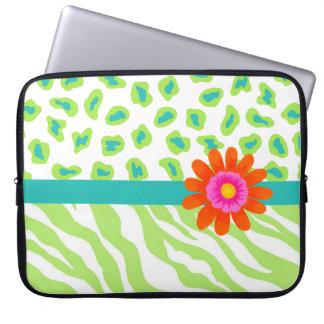 Green, White & Teal Zebra & Cheetah Orange Flower Laptop Computer Sleeve