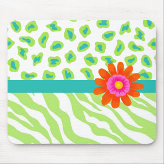 Green, White & Teal Zebra & Cheetah Orange Flower Mouse Pad