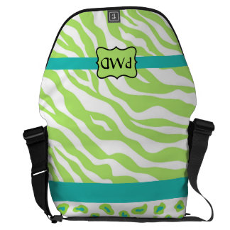 Green, White & Teal Zebra & Cheetah Personalized Courier Bags
