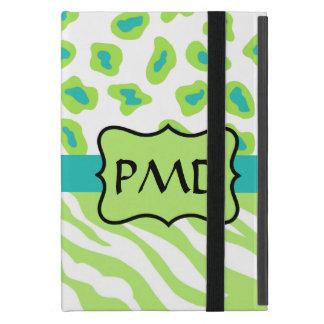 Green, White & Teal Zebra & Cheetah Personalized iPad Mini Covers