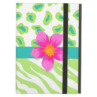 Green, White & Teal Zebra & Leopard Orange Flower iPad Air Cover