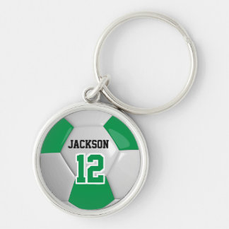 Green & White Team Soccer Ball Keychain