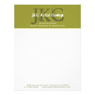 Green White Three Initial Business Logo Letterhead