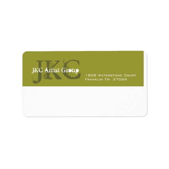 Green White Three Initial Business Shipping Label