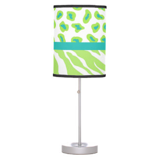 Green White Turquoise Leopard Zebra Skin Decorativ Table Lamp