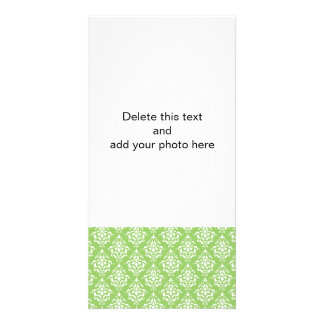 Green White Vintage Damask Pattern 1 Photo Card Template