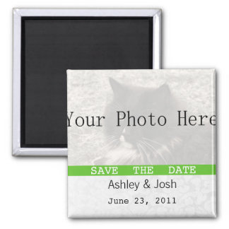 Green & White Vintage  Save The Date Magnets