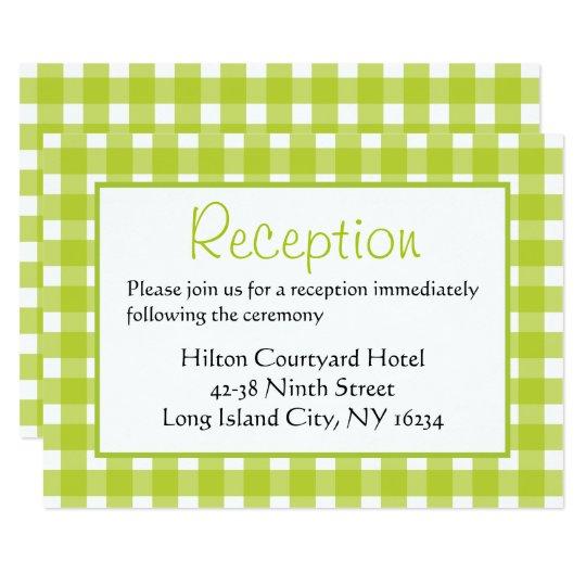 Green & White Wedding Reception Gingham Plaid Card