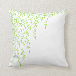 Green & White Weeping Willow Tree Branches Leaves Throw Pillow