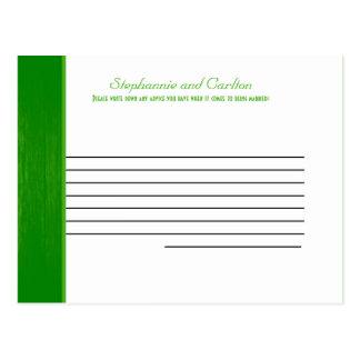 Green/White Wood Grain Wedding Advice Card Postcard