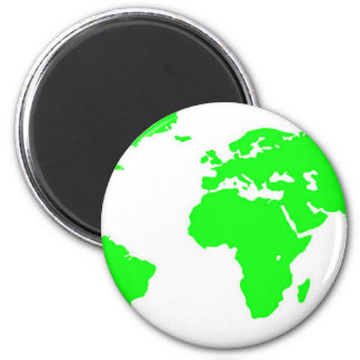 Green White World Map 2 Inch Round Magnet