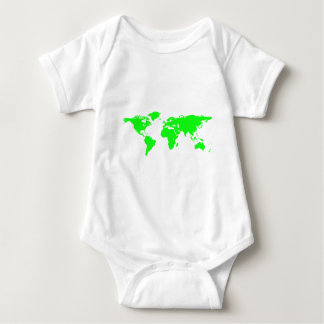 Green White World Map Baby Bodysuit