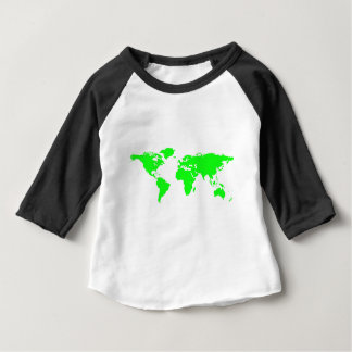 Green White World Map Baby T-Shirt