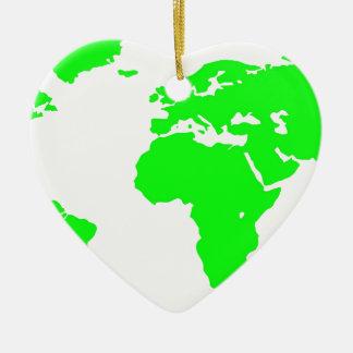 Green White World Map Ceramic Heart Ornament