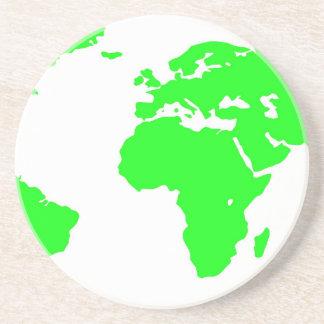 Green White World Map Coaster