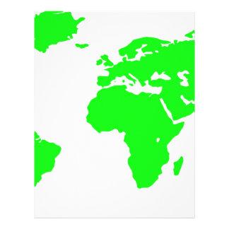 Green White World Map Custom Letterhead