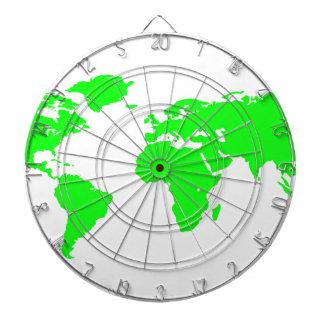 Green White World Map Dartboard