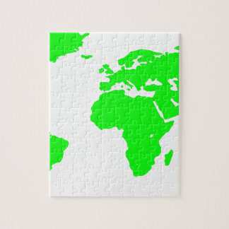 Green White World Map Jigsaw Puzzle
