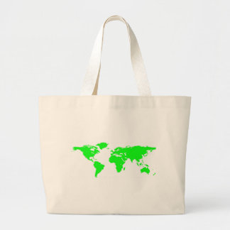 Green White World Map Large Tote Bag