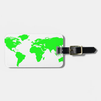 Green White World Map Luggage Tag