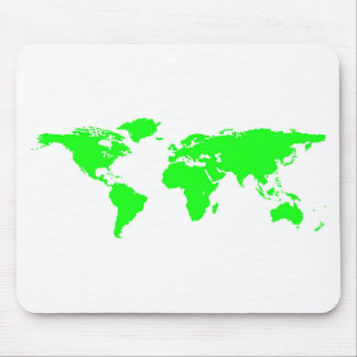 Green White World Map Mouse Pad