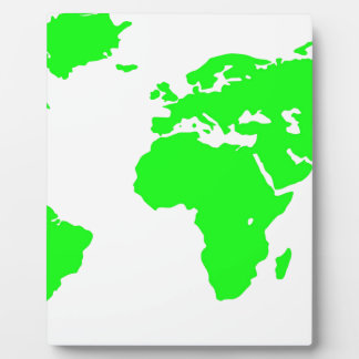 Green White World Map Plaque