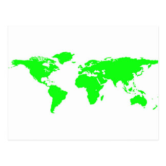 Green White World Map Postcard