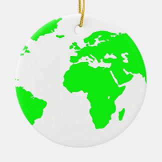 Green White World Map Round Ceramic Ornament