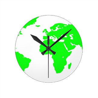 Green White World Map Round Clock