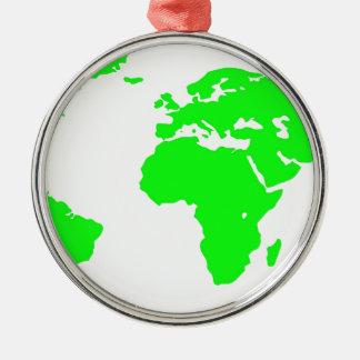 Green White World Map Silver-Colored Round Ornament