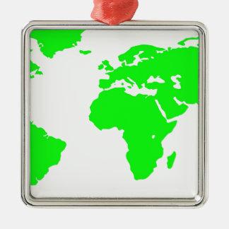 Green White World Map Silver-Colored Square Ornament