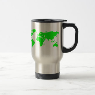 Green White World Map Travel Mug