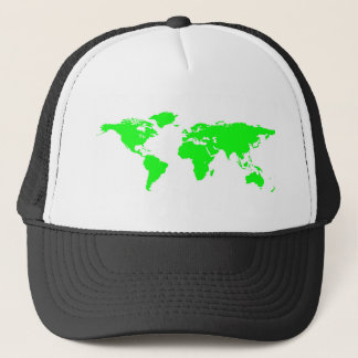 Green White World Map Trucker Hat