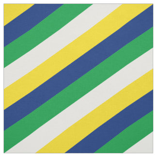 Green, white, yellow and blue striped pattern fabric