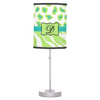 Green White Zebra Leopard Skin Monogram Initial Desk Lamp