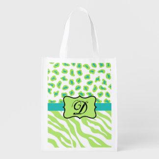 Green White Zebra Leopard Skin Monogram Initial Reusable Grocery Bag