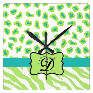 Green White Zebra Leopard Skin Monogram Initial Wall Clock