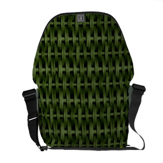 Green wicker art graphic design messenger bags