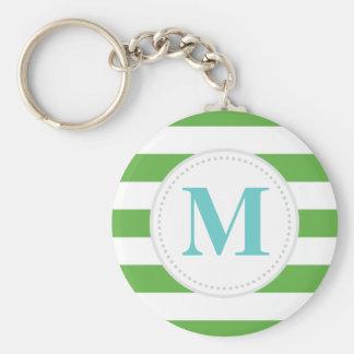 Green Wide Stripe Keychain