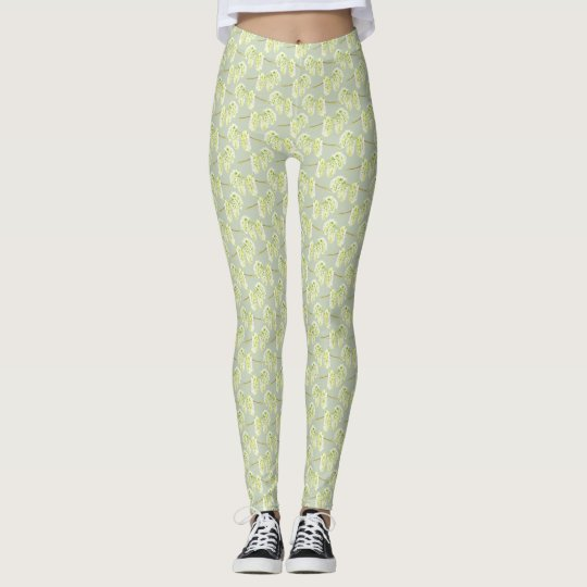 Green willow catkins pattern leggings