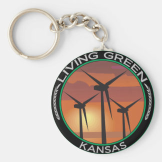 Green Wind Kansas Keychain