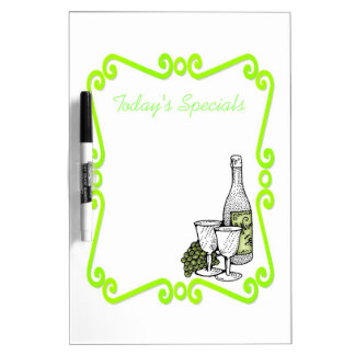 Green Wine Bottle and Grapes-Dry Erase Board Dry Erase Board