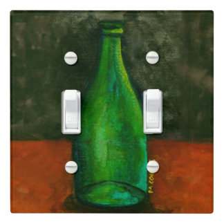 Green Wine Bottle Watercolor Light Switch Cover