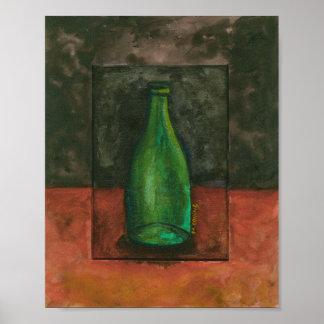Green Wine Bottle Watercolor Poster