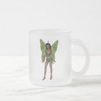 Green Wing Lady Faerie 5 - 3D Fairy - Frosted Glass Mug