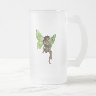 Green Wing Lady Faerie 6 - 3D Fairy - Frosted Glass Mug