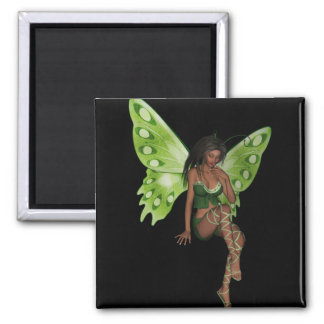 Green Wing Lady Faerie 6 - 3D Fairy - Square Magnet