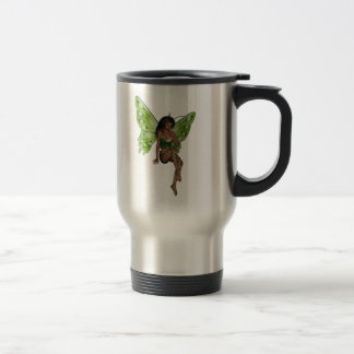 Green Wing Lady Faerie 6 - 3D Fairy - Stainless Steel Travel Mug