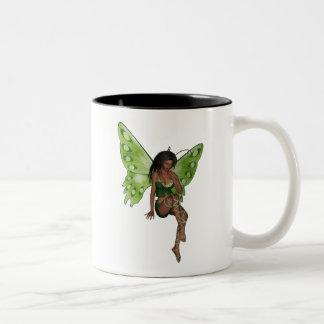 Green Wing Lady Faerie 6 - 3D Fairy - Two-Tone Coffee Mug