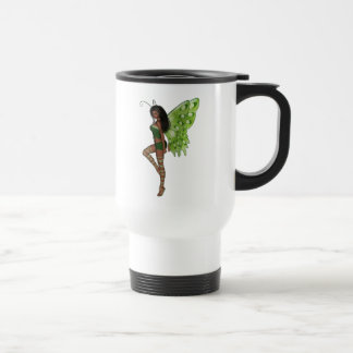 Green Wing Lady Faerie 7 - 3D Fairy - 15 Oz Stainless Steel Travel Mug